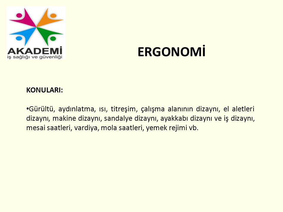 ERGONOMİ KONULARI:
