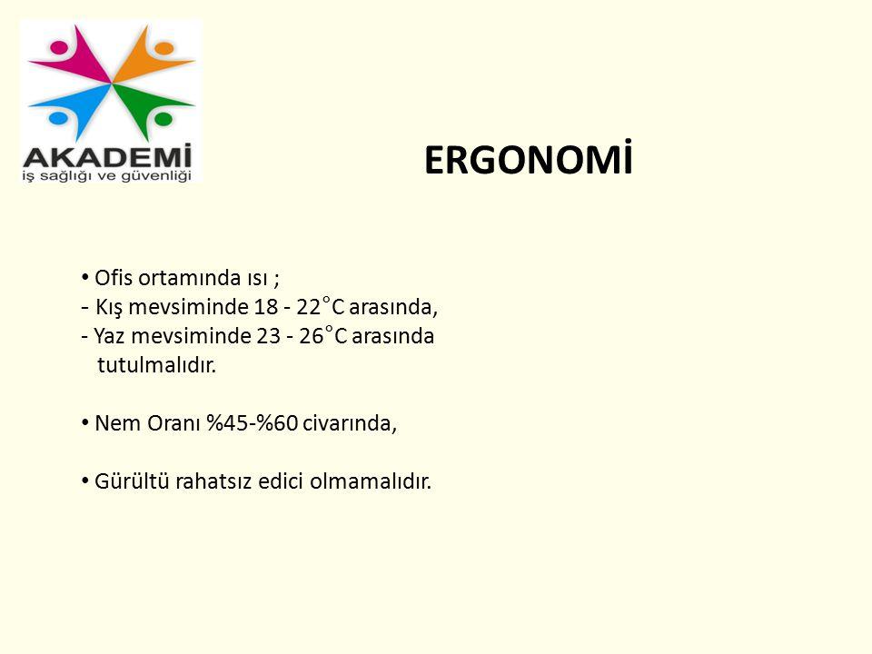 ERGONOMİ Ofis ortamında ısı ; - Kış mevsiminde 18 - 22°C arasında,