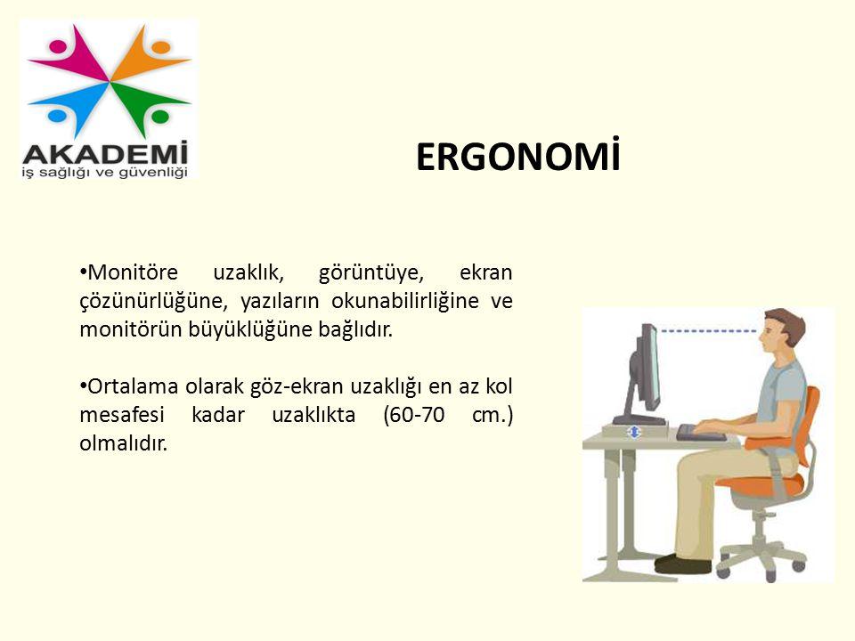 ERGONOMİ Monitöre uzaklık, görüntüye, ekran çözünürlüğüne, yazıların okunabilirliğine ve monitörün büyüklüğüne bağlıdır.