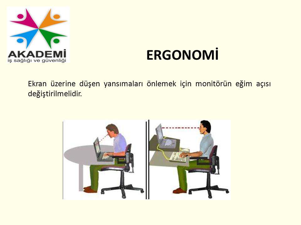 ERGONOMİ Ekran üzerine düşen yansımaları önlemek için monitörün eğim açısı değiştirilmelidir.