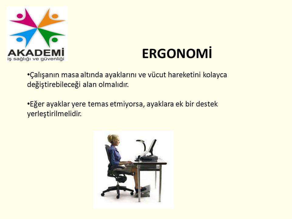 ERGONOMİ Çalışanın masa altında ayaklarını ve vücut hareketini kolayca değiştirebileceği alan olmalıdır.