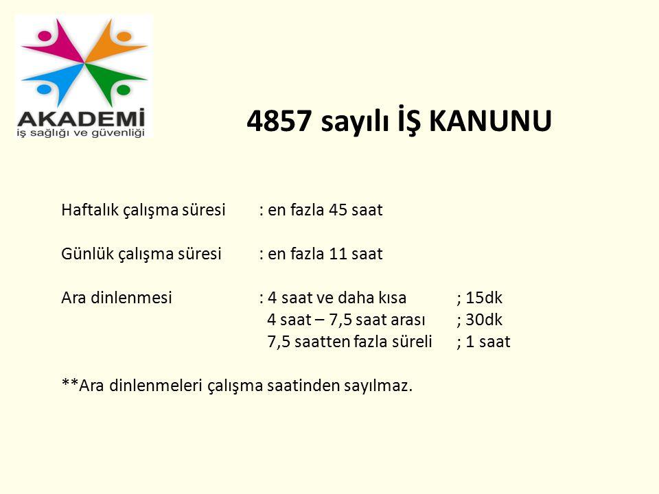 4857 sayılı İŞ KANUNU Haftalık çalışma süresi : en fazla 45 saat