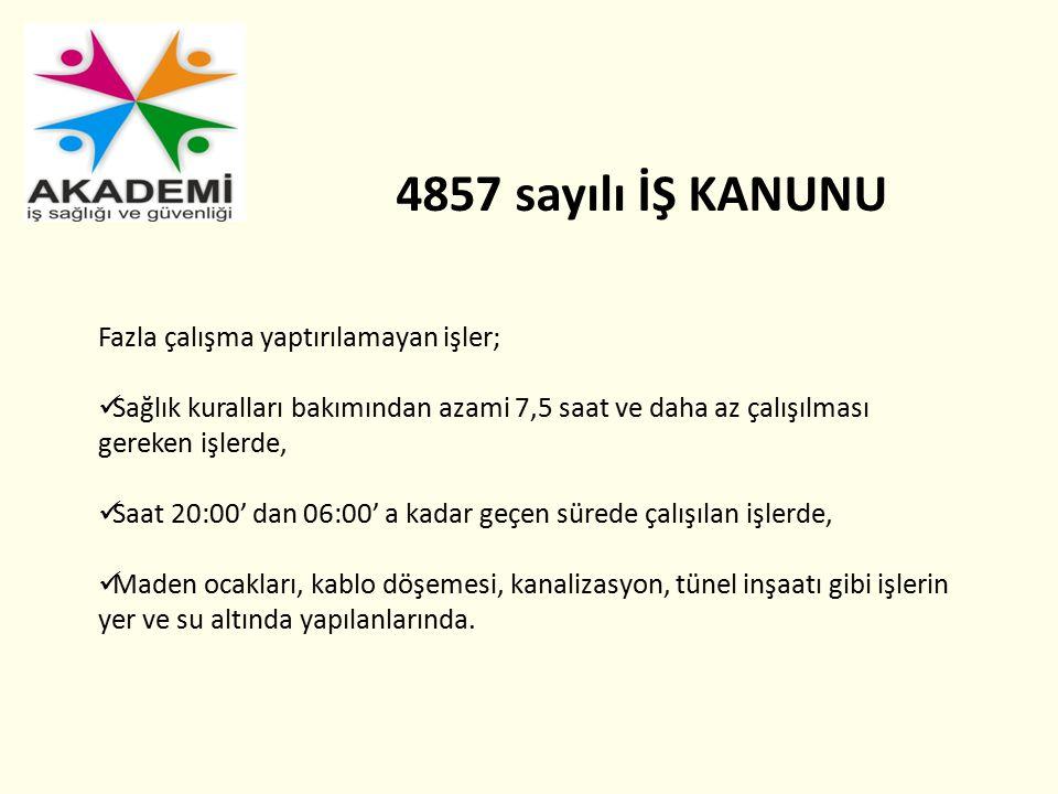 4857 sayılı İŞ KANUNU Fazla çalışma yaptırılamayan işler;