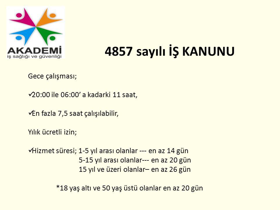 4857 sayılı İŞ KANUNU Gece çalışması;
