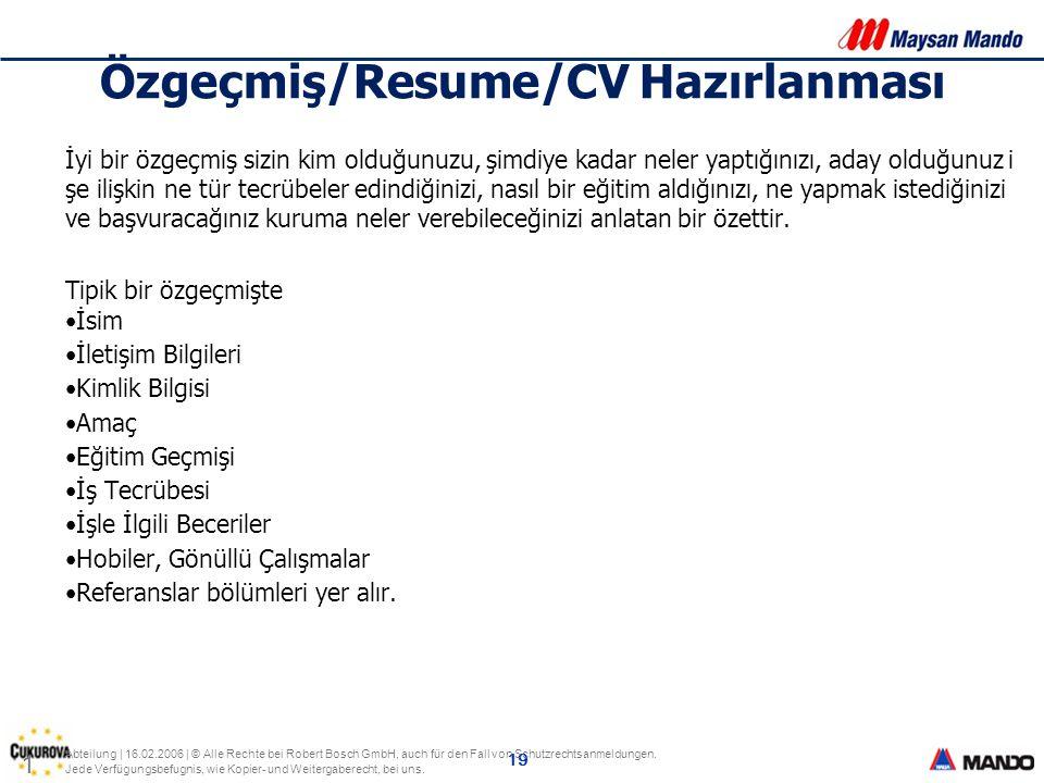 Özgeçmiş/Resume/CV Hazırlanması