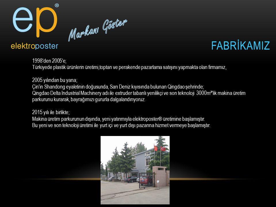 FaBRİKAMIZ 1998 den 2005 e; Türkiyede plastik ürünlerin üretimi,toptan ve perakende pazarlama satışını yapmakta olan firmamız,