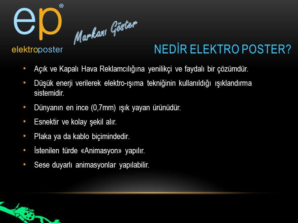 NedİR elektro poster Açık ve Kapalı Hava Reklamcılığına yenilikçi ve faydalı bir çözümdür.