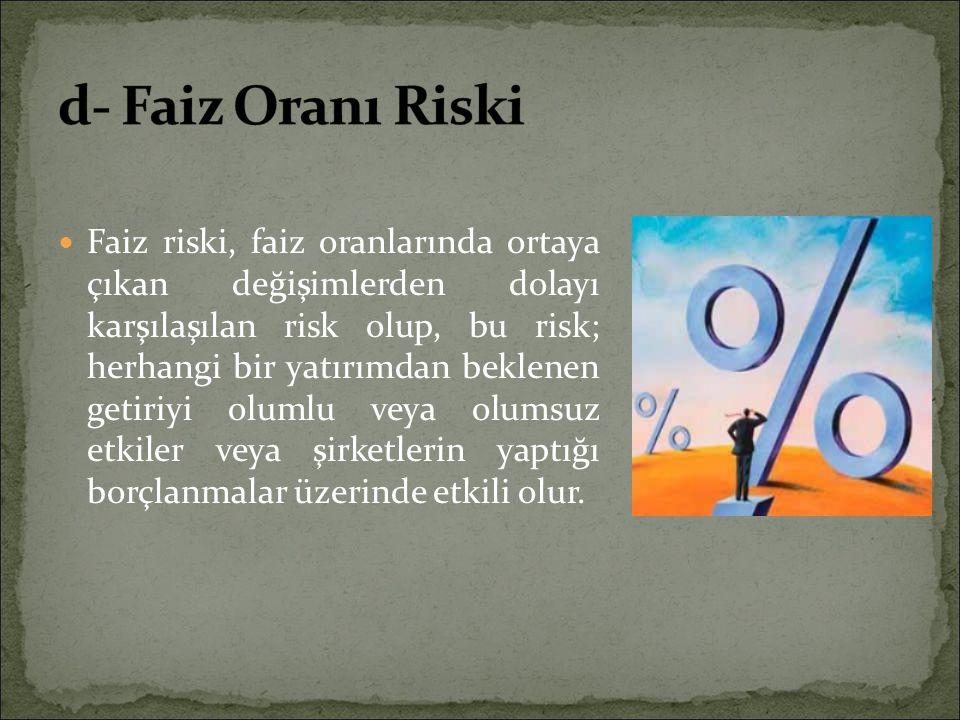 d- Faiz Oranı Riski