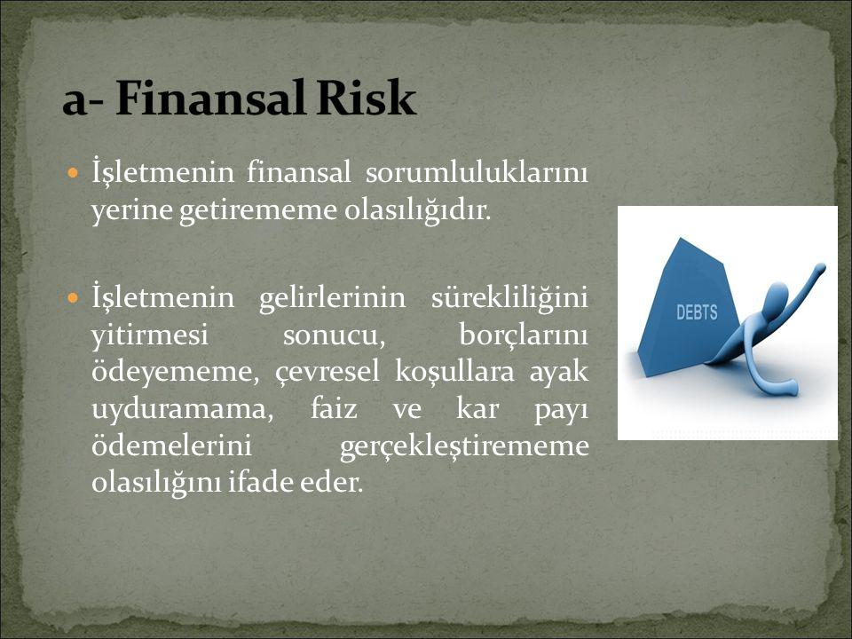 a- Finansal Risk İşletmenin finansal sorumluluklarını yerine getirememe olasılığıdır.