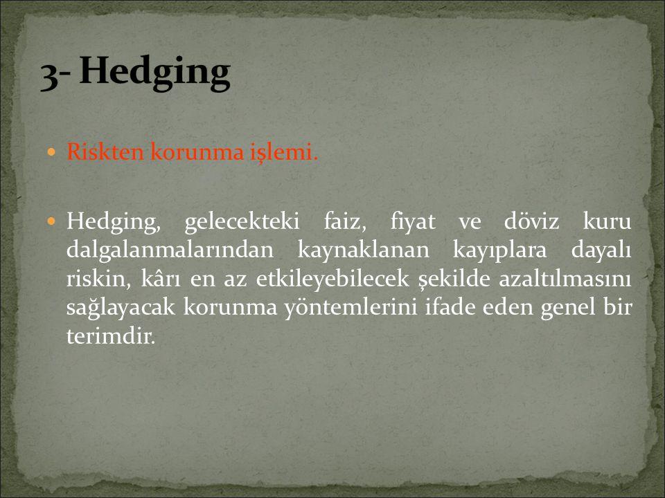 3- Hedging Riskten korunma işlemi.