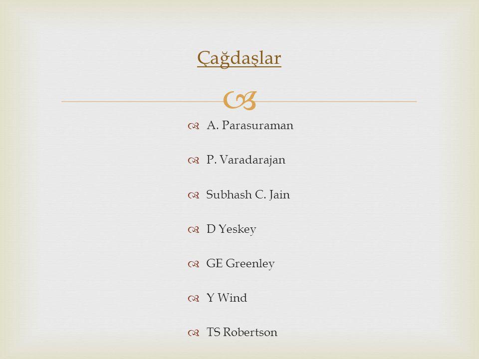 Çağdaşlar A. Parasuraman P. Varadarajan Subhash C. Jain D Yeskey