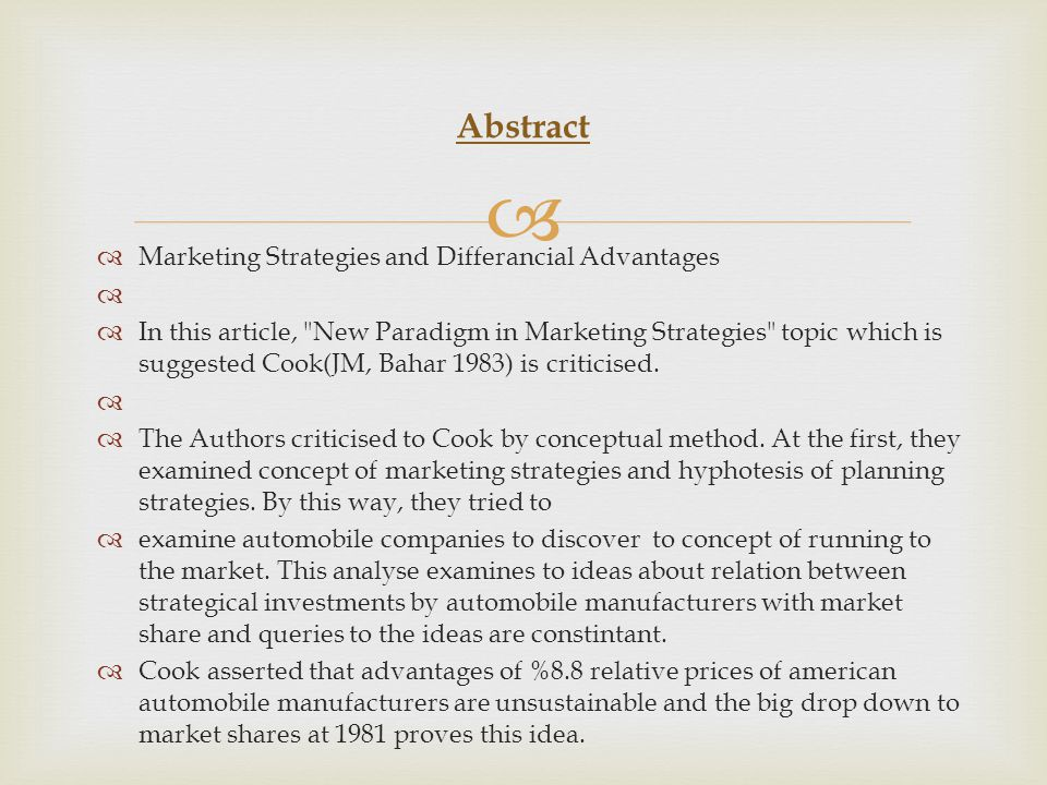 Abstract Marketing Strategies and Differancial Advantages