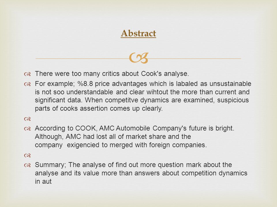 Abstract There were too many critics about Cook s analyse.