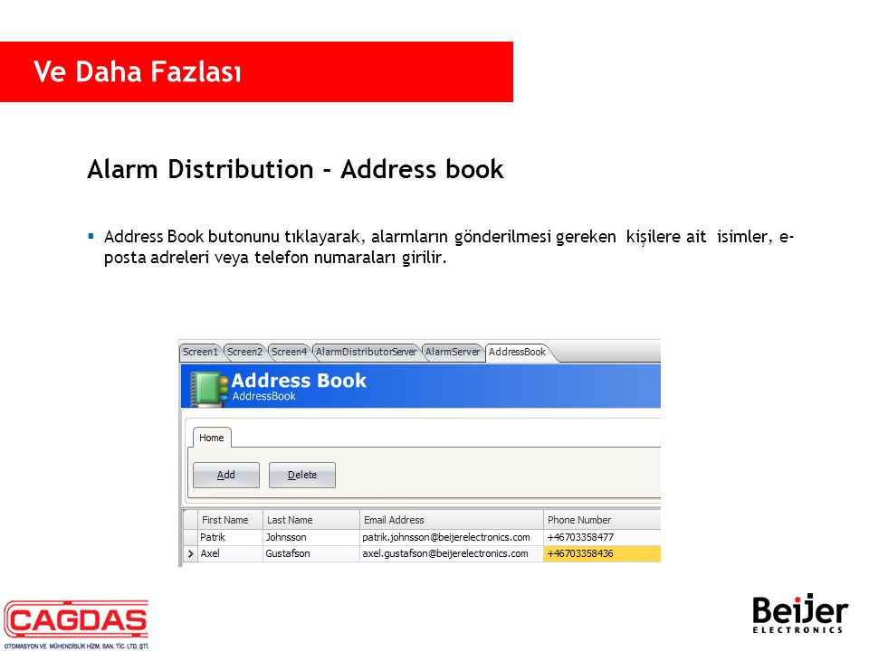 Alarm Distribution - Address book