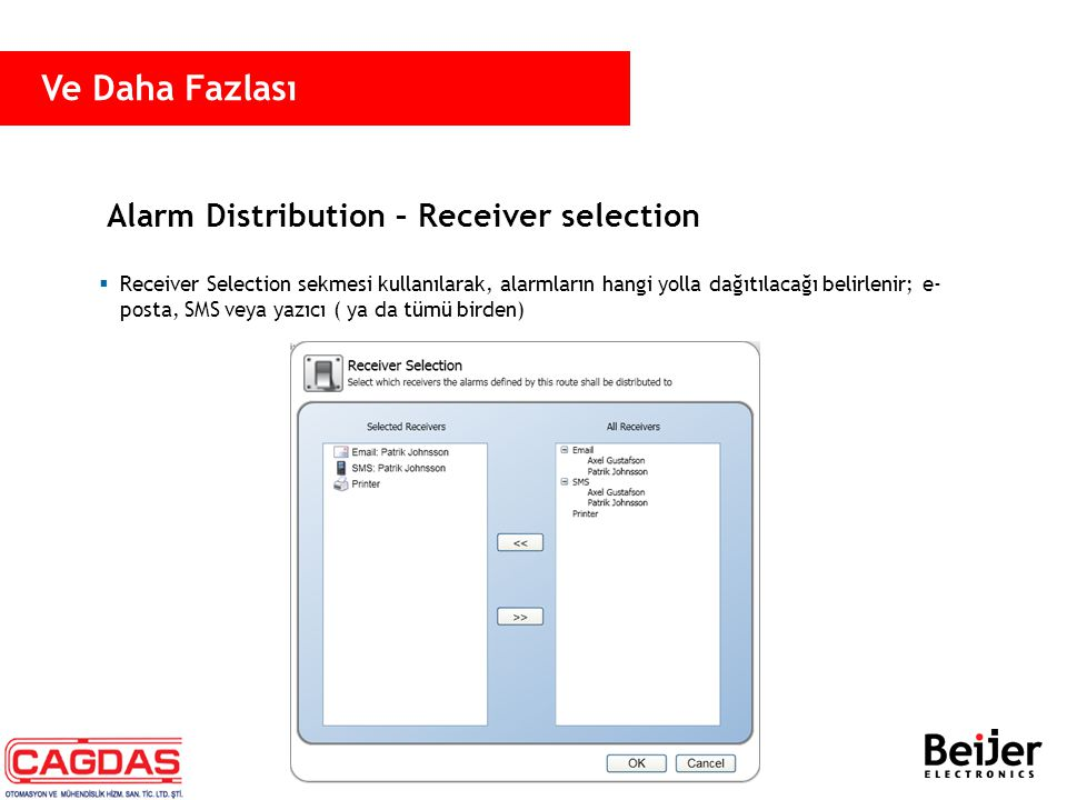 Alarm Distribution – Receiver selection