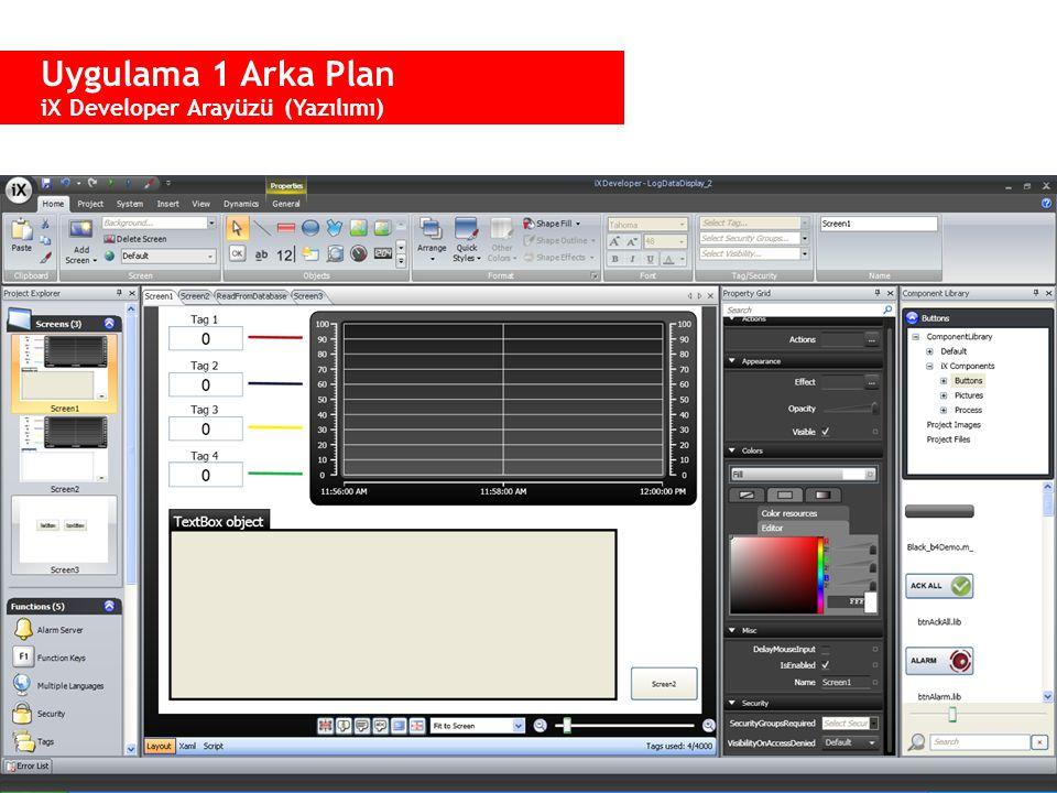 Uygulama 1 Arka Plan iX Developer Arayüzü (Yazılımı)