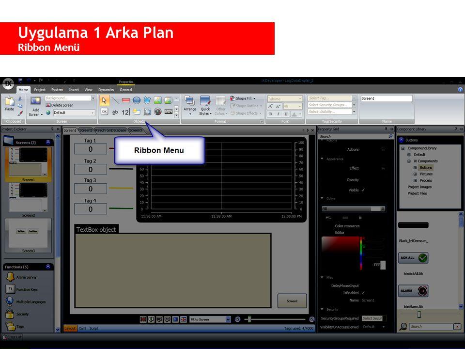 Uygulama 1 Arka Plan Ribbon Menü