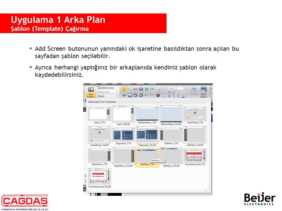 Uygulama 1 Arka Plan Şablon (Template) Çağırma