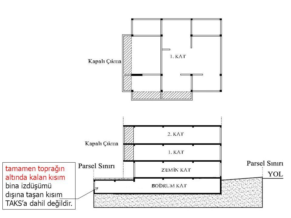 tamamen toprağın altında kalan kısım bina izdüşümü dışına taşan kısım TAKS'a dahil değildir.