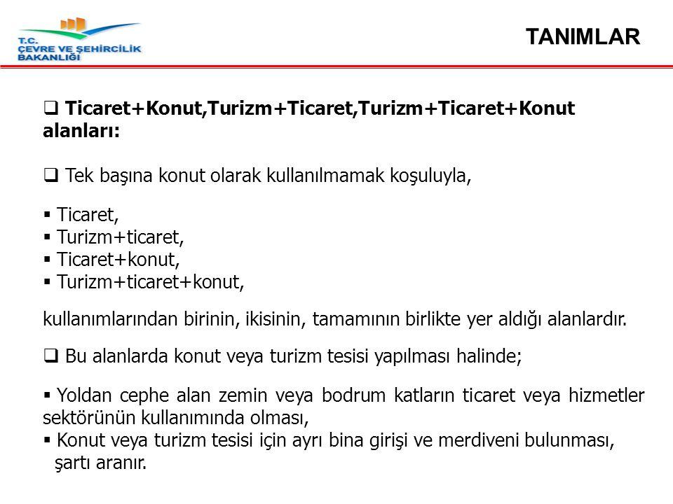 TANIMLAR Ticaret+Konut,Turizm+Ticaret,Turizm+Ticaret+Konut alanları: