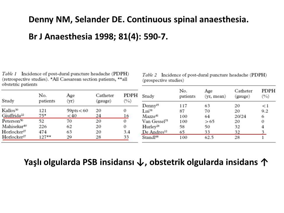 Yaşlı olgularda PSB insidansı ↓, obstetrik olgularda insidans ↑
