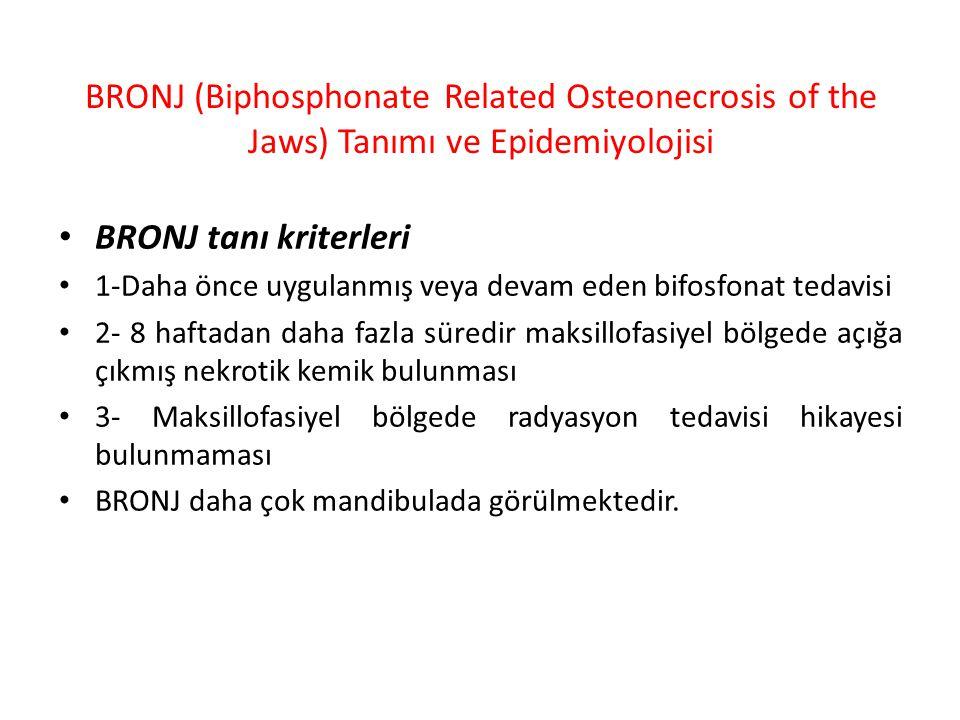 BRONJ (Biphosphonate Related Osteonecrosis of the Jaws) Tanımı ve Epidemiyolojisi