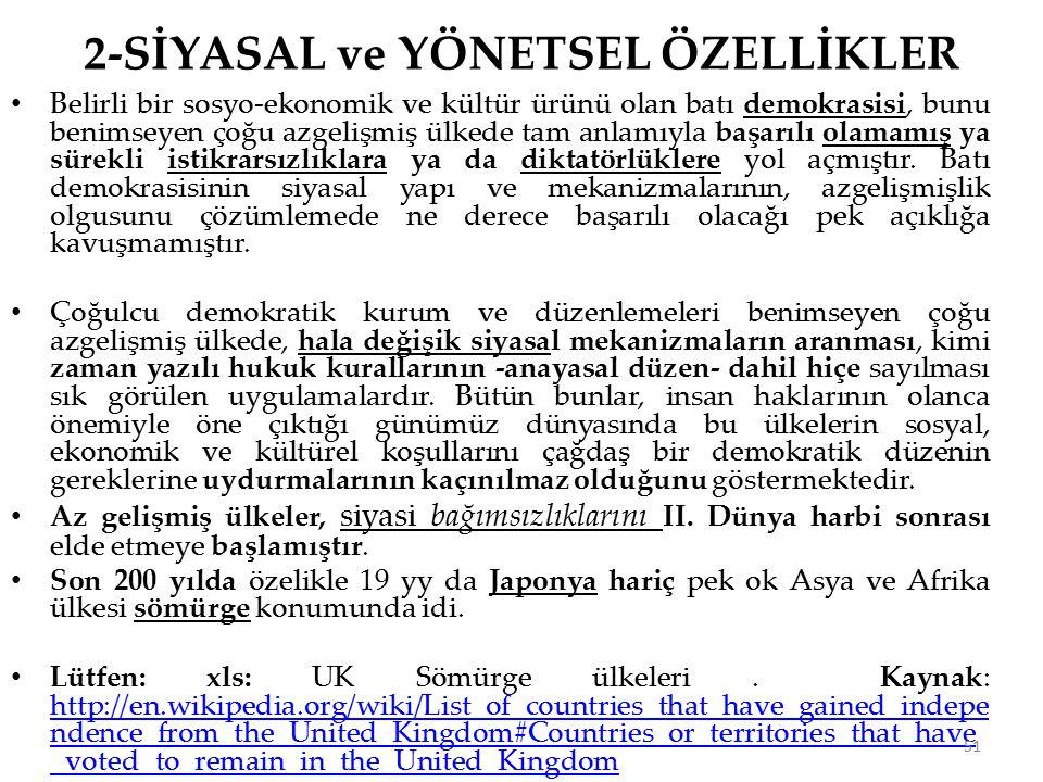 2-SİYASAL ve YÖNETSEL ÖZELLİKLER