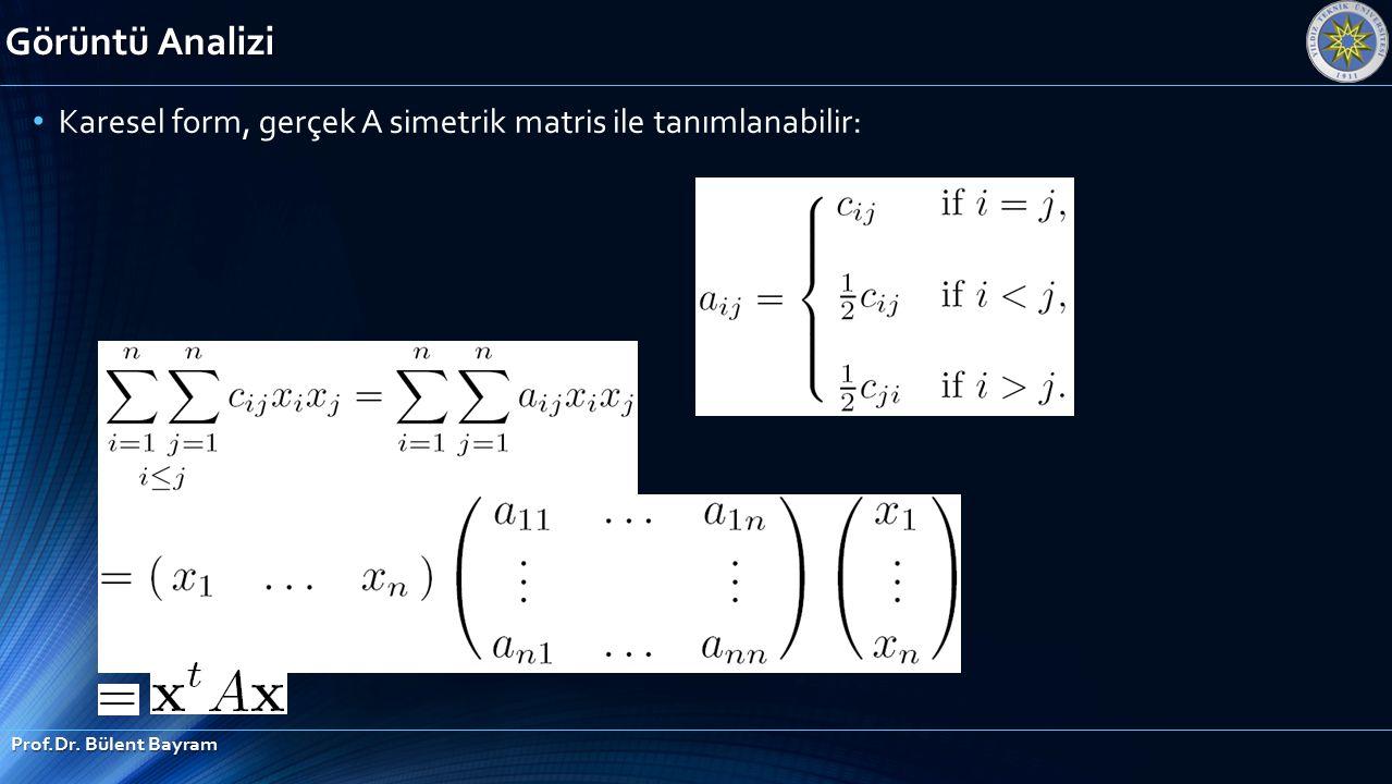 Görüntü Analizi Karesel form, gerçek A simetrik matris ile tanımlanabilir: Prof.Dr. Bülent Bayram