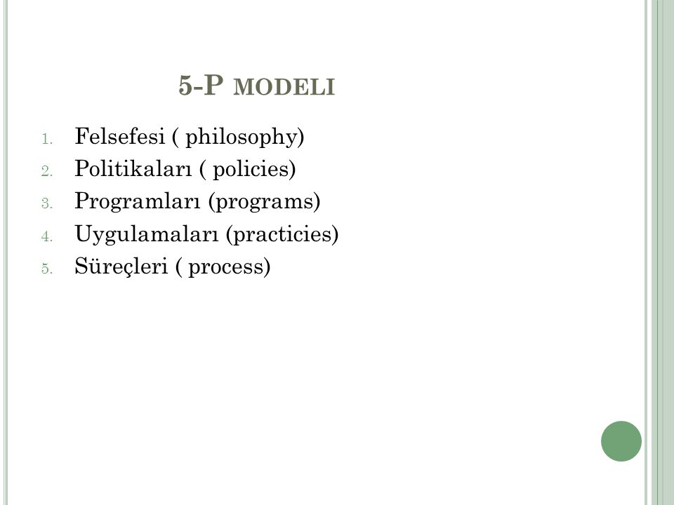 5-P modeli Felsefesi ( philosophy) Politikaları ( policies)