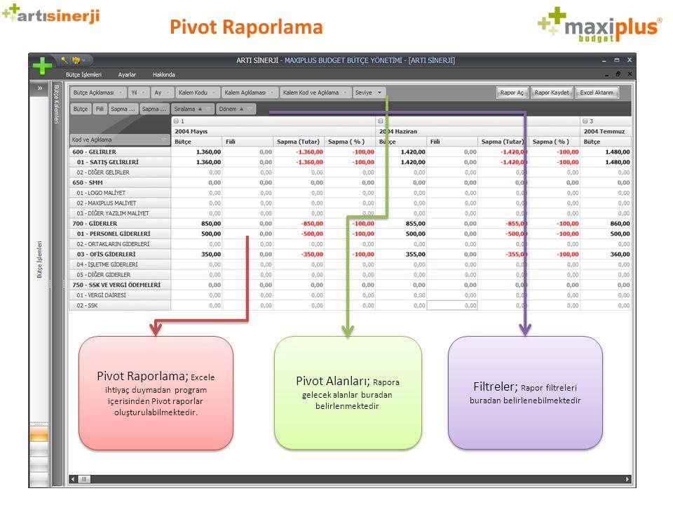 Pivot Raporlama Pivot Raporlama; Excele ihtiyaç duymadan program içerisinden Pivot raporlar oluşturulabilmektedir.