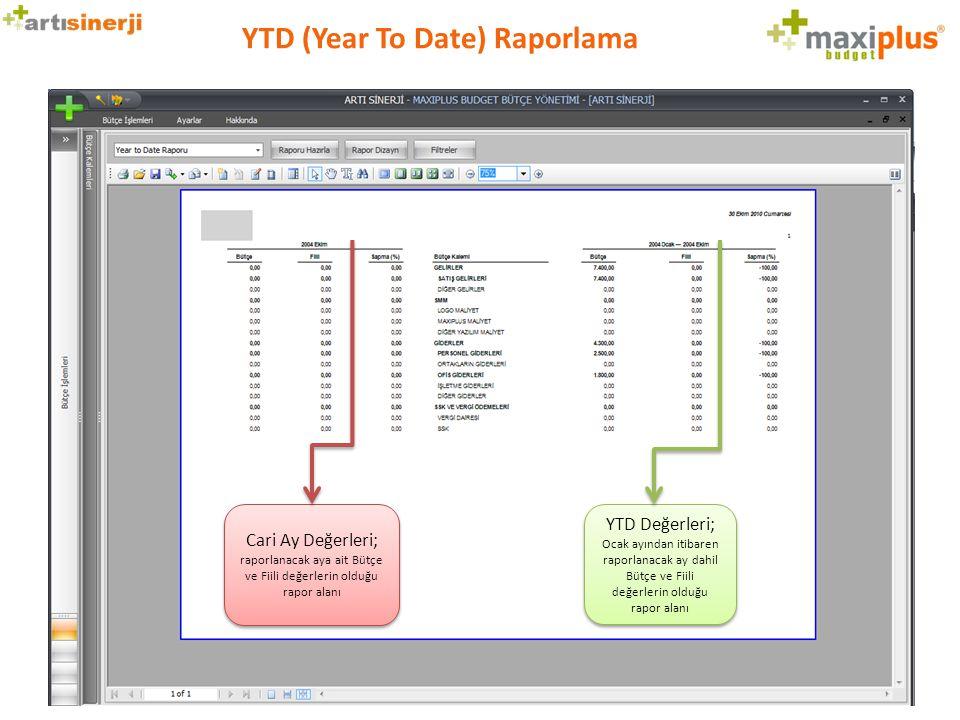 YTD (Year To Date) Raporlama