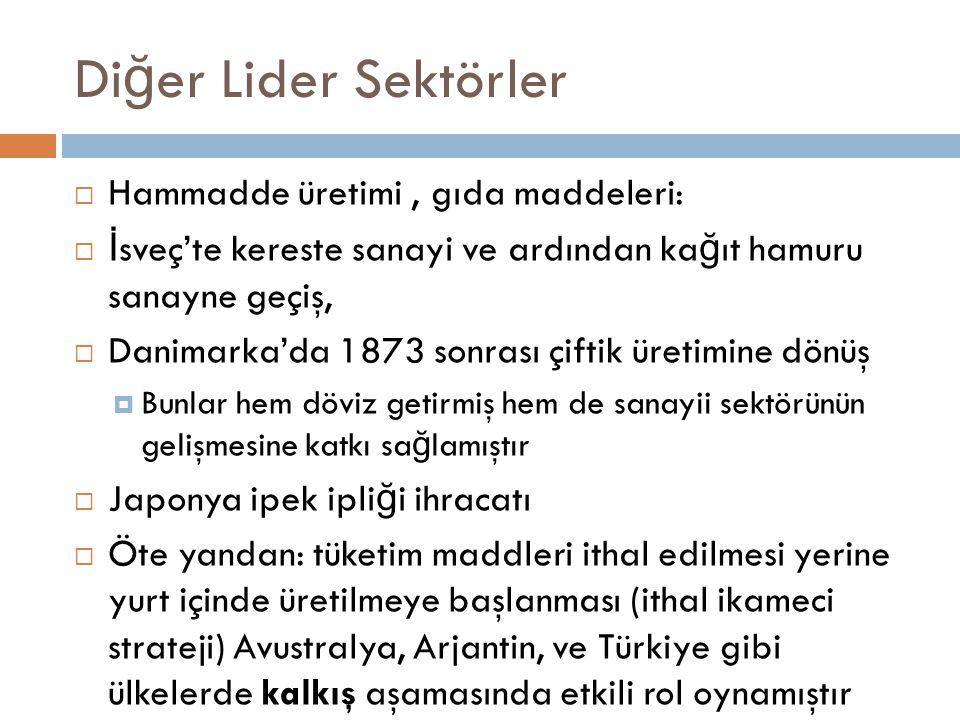 Diğer Lider Sektörler Hammadde üretimi , gıda maddeleri: