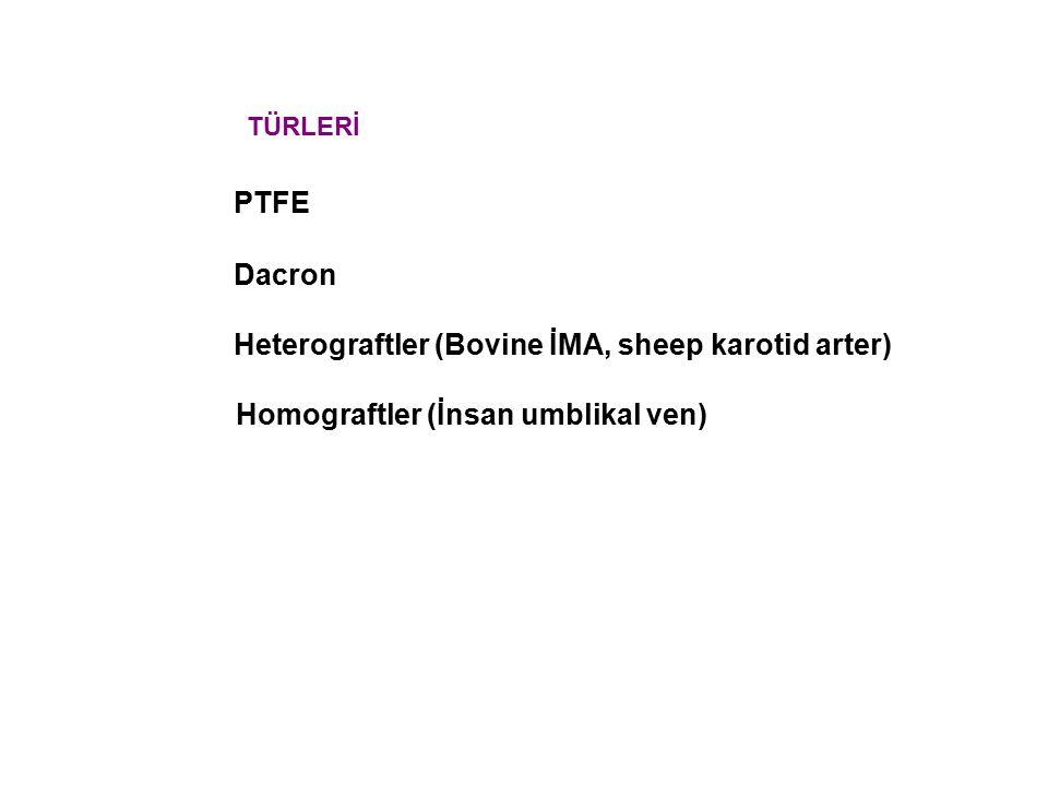 Heterograftler (Bovine İMA, sheep karotid arter)
