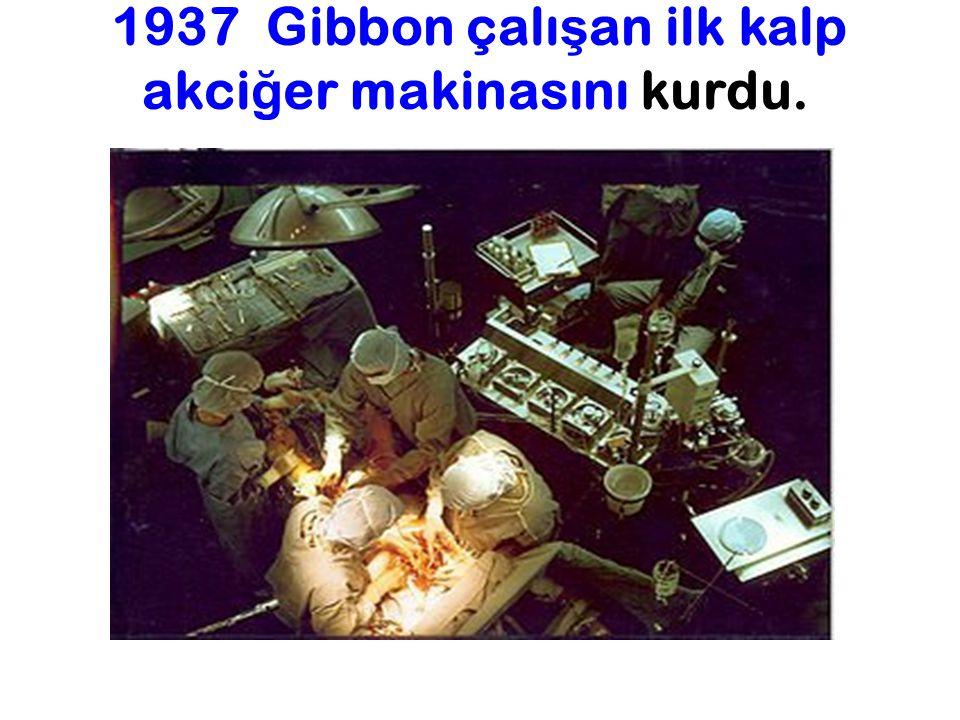 1937 Gibbon çalışan ilk kalp akciğer makinasını kurdu.