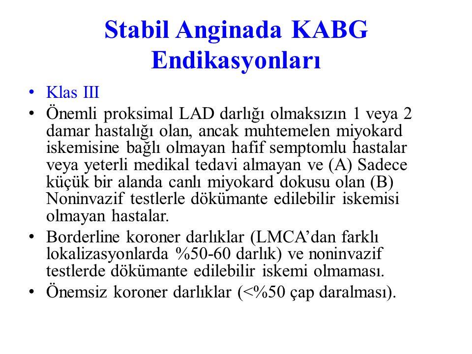 Stabil Anginada KABG Endikasyonları