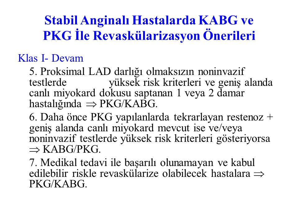 Stabil Anginalı Hastalarda KABG ve PKG İle Revaskülarizasyon Önerileri