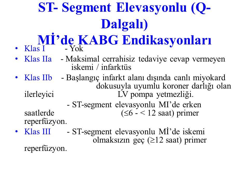 ST- Segment Elevasyonlu (Q-Dalgalı) Mİ'de KABG Endikasyonları