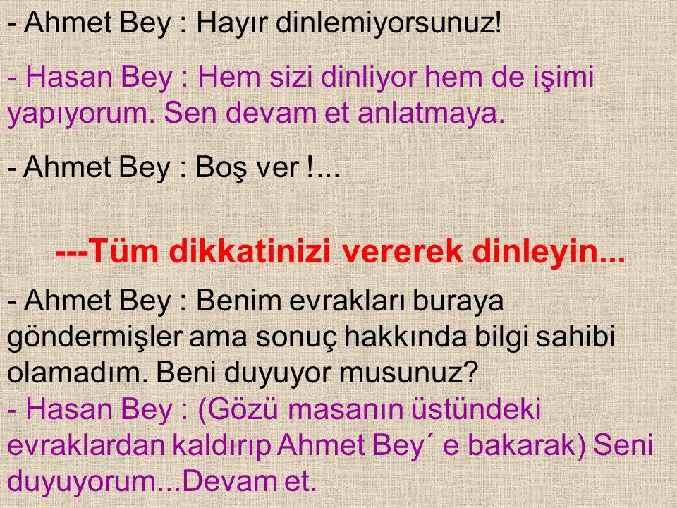 - Ahmet Bey : Hayır dinlemiyorsunuz!