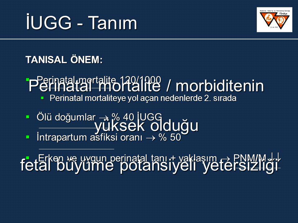 İUGG - Tanım Perinatal mortalite / morbiditenin yüksek olduğu