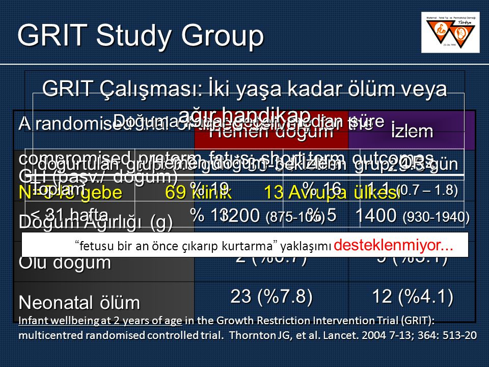 GRIT Study Group GRIT Çalışması: İki yaşa kadar ölüm veya ağır handikap. Doğuma kadar geçen median süre.