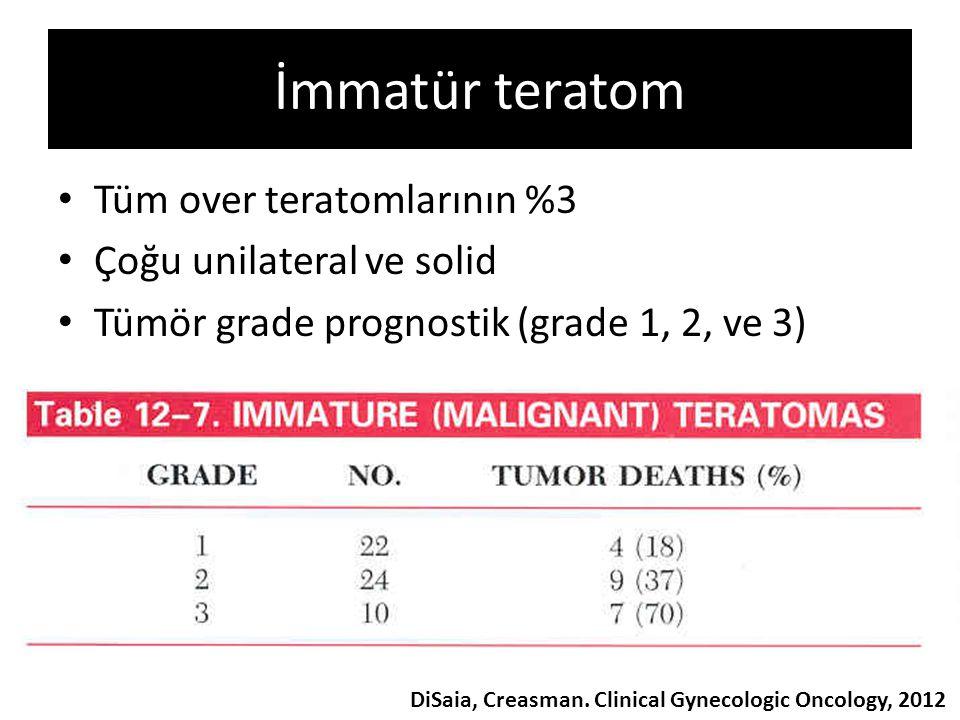 İmmatür teratom Tüm over teratomlarının %3 Çoğu unilateral ve solid