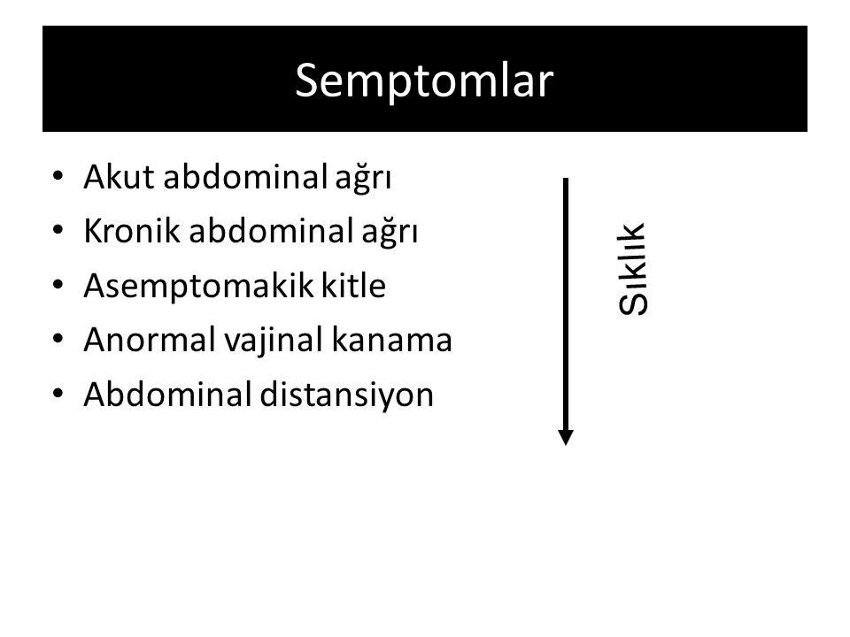 Semptomlar Akut abdominal ağrı Kronik abdominal ağrı