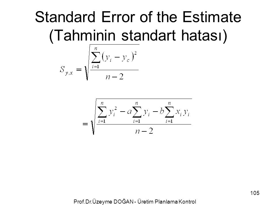 Standard Error of the Estimate (Tahminin standart hatası)