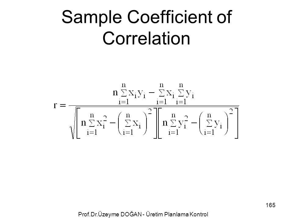 Sample Coefficient of Correlation