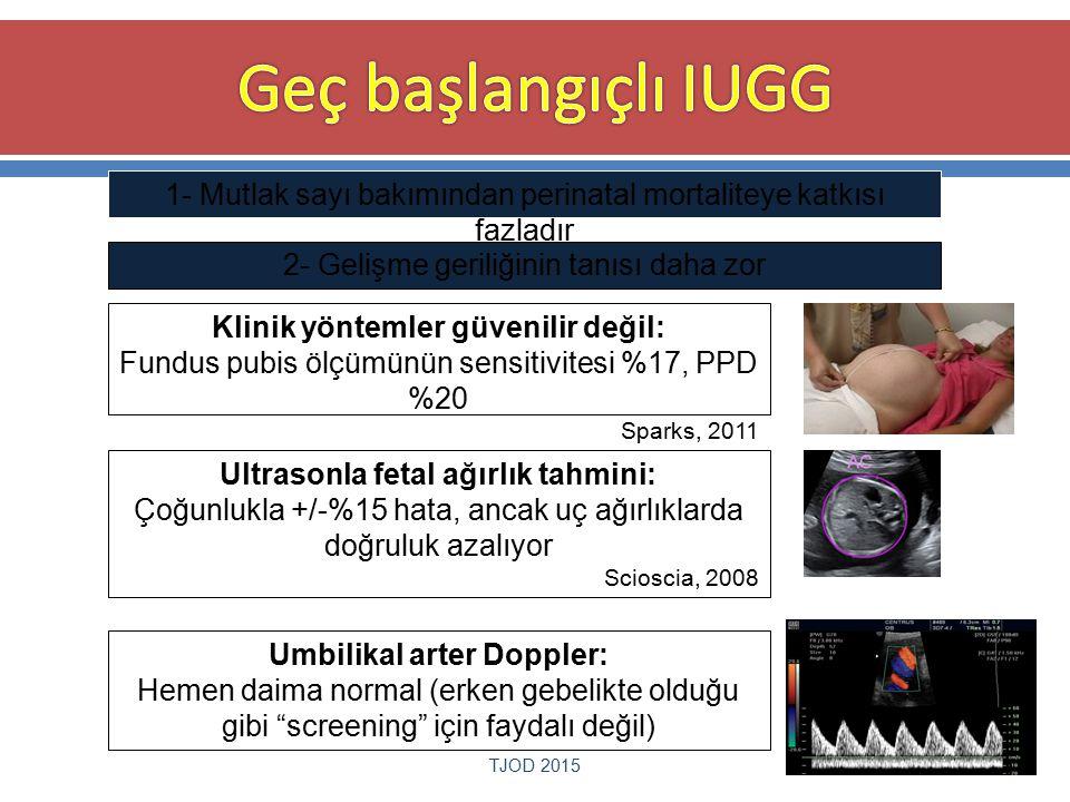 Geç başlangıçlı IUGG 1- Mutlak sayı bakımından perinatal mortaliteye katkısı fazladır. 2- Gelişme geriliğinin tanısı daha zor.