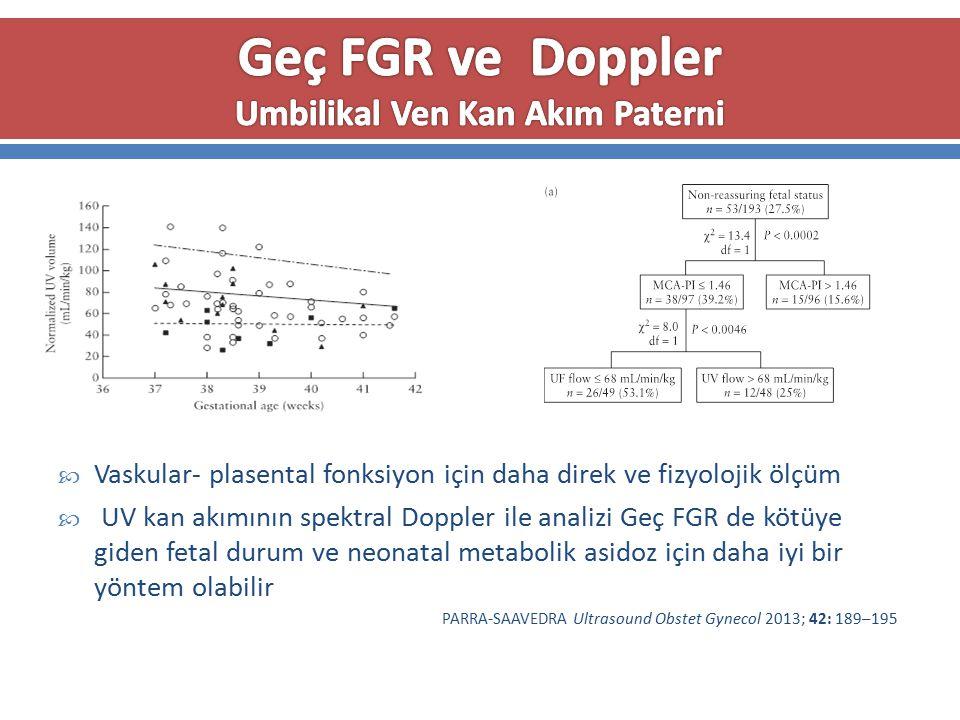 Geç FGR ve Doppler Umbilikal Ven Kan Akım Paterni