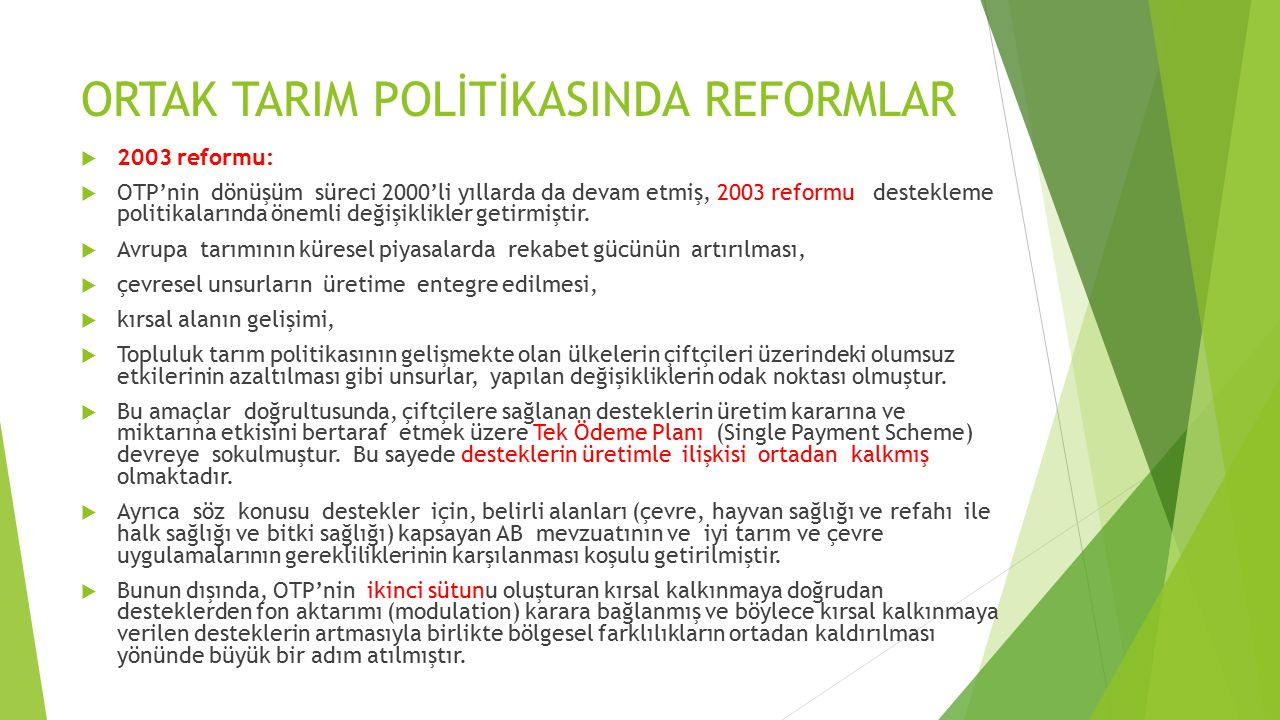 ORTAK TARIM POLİTİKASINDA REFORMLAR