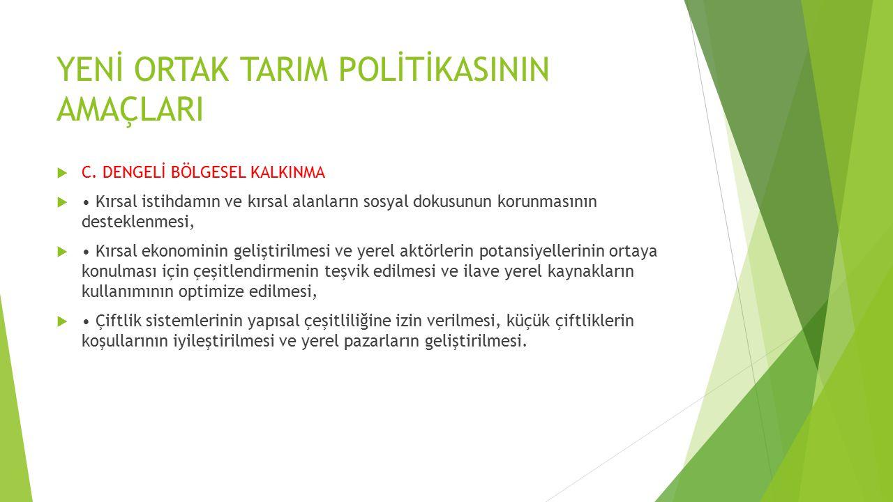 YENİ ORTAK TARIM POLİTİKASININ AMAÇLARI