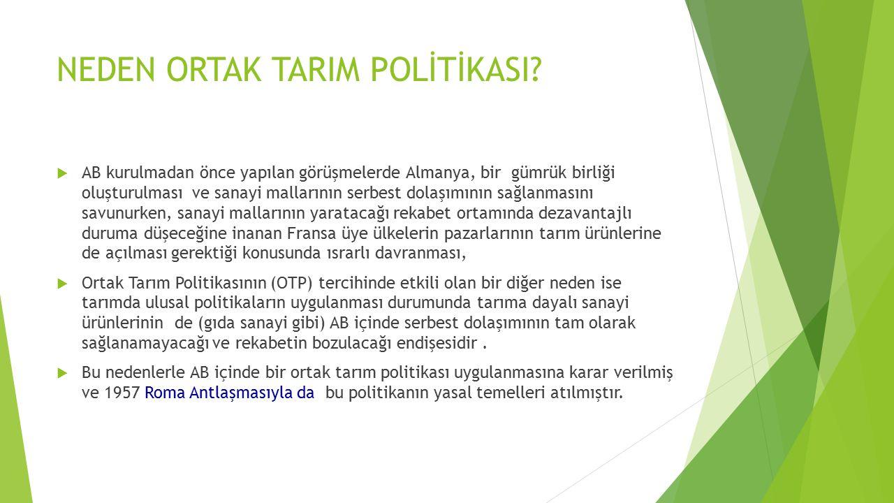 NEDEN ORTAK TARIM POLİTİKASI