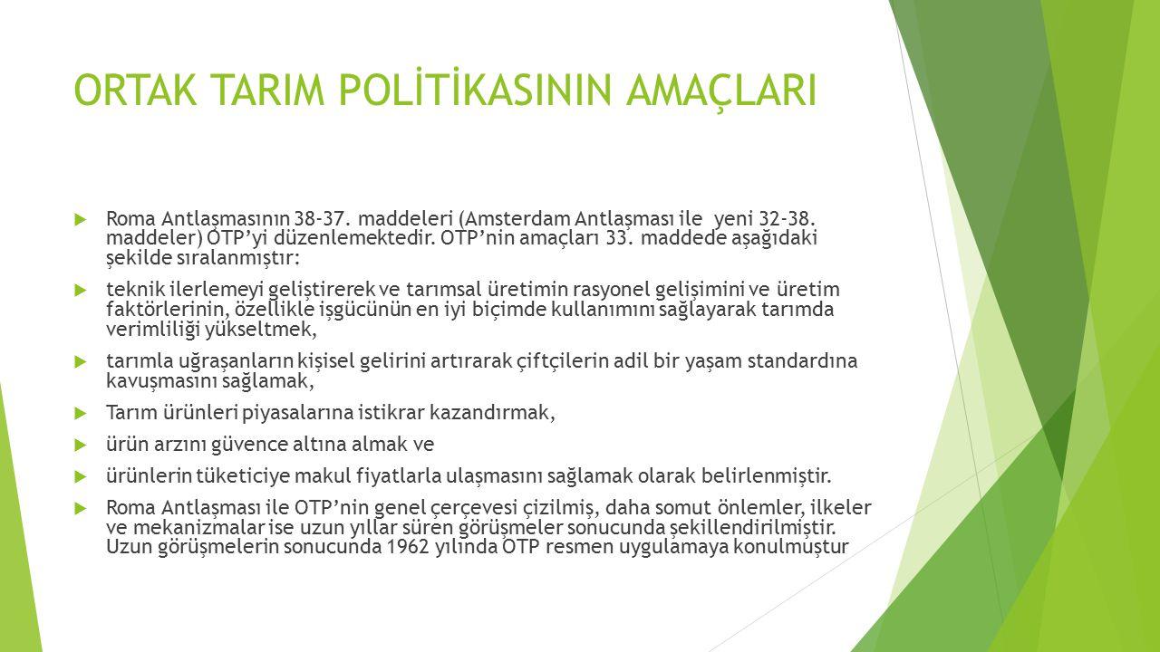 ORTAK TARIM POLİTİKASININ AMAÇLARI